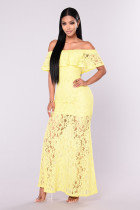 Solide Lace Ruffle Off Schulter Nude Illusion Maxi-Kleid 25910-2