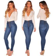 Botão de cintura alta azul escuro até Jeans 26041