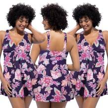 Plus Size vestido de natação com tiras roxo Foral 25548