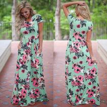 Maxi vestito casual a maniche corte stampato floreale 26063-2