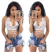 Light Blue Rasgado Irregular Hot Denim Shorts 25805