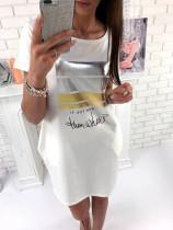 Weißer Slogan Print Kurzarm Casual Dress 25706-2