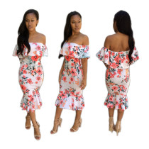 Floral Ruffle Off Shoulder Flare Bodycon Dress 25707