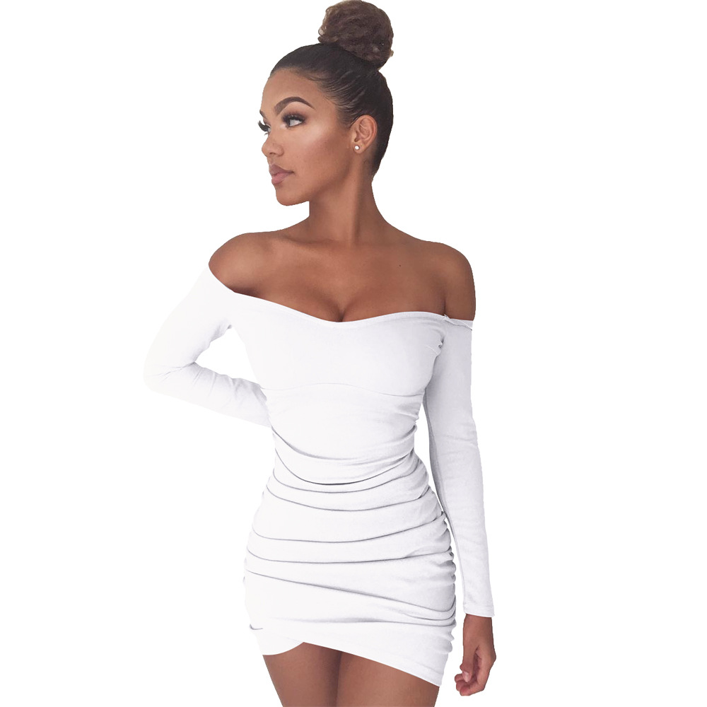 d8577fb7377b Pure Color Off Shoulder Long Sleeve Fold Bodycon Dress 25593-2. Loading zoom