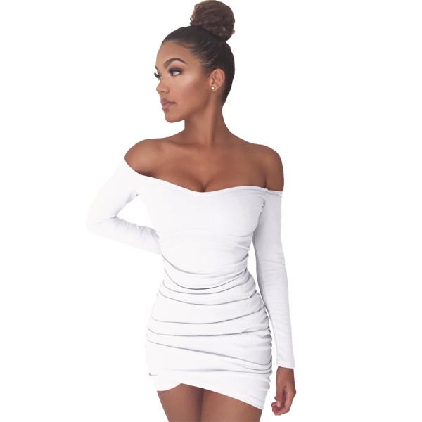 Saf Renk Kapalı Omuz Uzun Kollu Fold Bodycon Elbise 25593-2