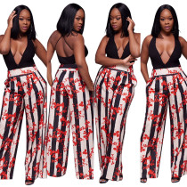 Floral and Stripes Long Loose Pants 26065-2
