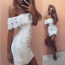 Beyaz Retro Kapalı Omuz Seksi Dantel Yaz Elbise 25660-2