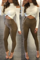 Lace-Up High Waist Fitted Pants 26315-2