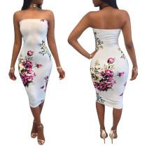Floral White Sexy Tube Dress 26451