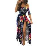 Flroal Off Shoulder Half Sleeve Romper Maxi Dress 26380-3