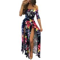 Flroal Kapalı Omuz Yarım Kol Romper Maxi Elbise 26380-3