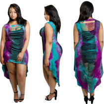 Sexy Hollow-Out High-Low Colorful Dress 26405-2