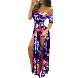 Flroal Off Shoulder Half Sleeve Romper Maxi Dress 26380-2