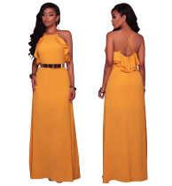 Pure Color Cross Back Straps Long Dress with Ruffles  26439-2