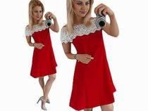 A-Line Einfarbiges Kleid mit Spitzenschultern 26440-2