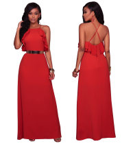 Pure Color Cross Back Straps Long Dress with Ruffles  26439-1