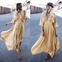 Robe longue sexy en or profond avec manches 1 / 2 26592