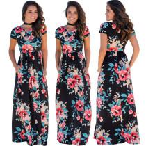 Robe maxi à manches courtes et à fleurs - 26524