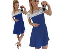 A-Line Einfarbiges Kleid mit Spitzenschultern 26440-1