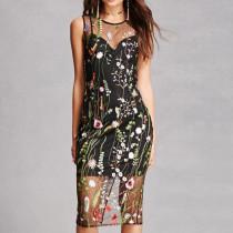 Sexy Flower Mesh Silm Dress 26283