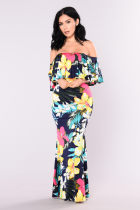Printing Sexy Off-Shoulder Overlay Long Dress 26455