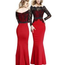 Elegante vestido de noche de sirena con patchwork de encaje fuera del hombro 26194-2