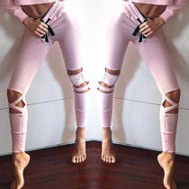 Pink Cut Out Legging with Strings Waist  26584