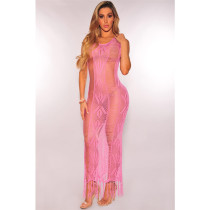 Pink Hollow Out Knitting Cover Up Dress 25274-4