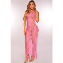Rosa oco Out Knitting Cover Up vestido 25274-4