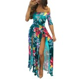 Flroal Off Shoulder Half Sleeve Romper Maxi Dress 26380-1