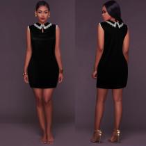 Little Black Velvet Party Dress with Contrast Lace Collar 26569