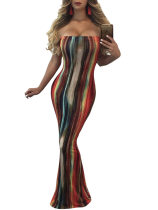 Mutil-Colored Sexy Long Bandeau Dress 26267
