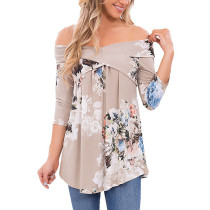 Open Shoulder Sexy Floral Top 26393-3