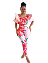 Red and Pink Formal Floral Two-Piece Pant Set 26542