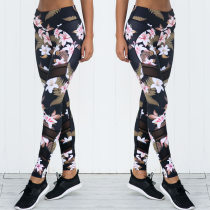 Flower Black Fitness Leggings 26549