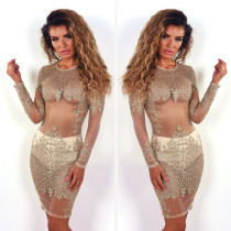 Sexy ver através de lantejoulas Gold Party Dress 26889