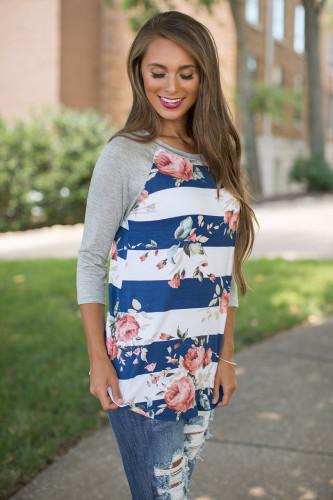 Camisas de rayas con estampado floral de rayas anchas