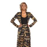 Set di pantaloni e cappotti con stampa oro e catene nere 27114