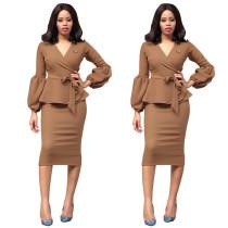 Fashion Office Plain Pulpum Dress 26774