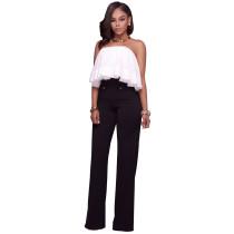 Pantalones elegantes de cintura alta con decoraciones de Botton 26603-1