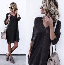 Vestido de suéter con cuello en V de color liso 27166-1