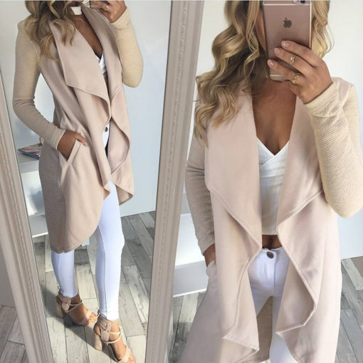 Long Irregular Nude Coat 26718-1