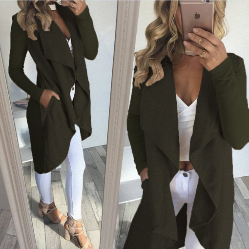 Long Irregular Green Coat 26718-3
