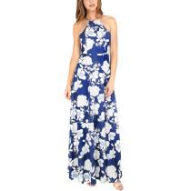 Weißes und blaues Blumenhalfter Langes Kleid 26636