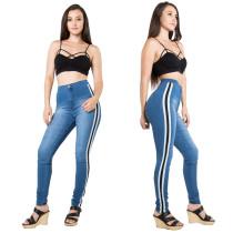 Blaue Jeans mit hohem Bund und Kontraststreifen 27044