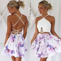 Sexy Blumendruck-Halfter-Skaterkleid mit offenem Rücken