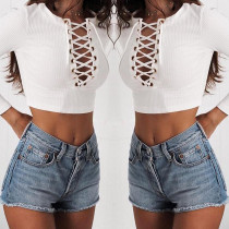 Sexy Lace-Up Knitted White Crop Tops 26907