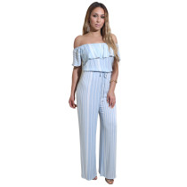 Sexy Off-Shoulder Stripped Jumpsuit 26726-1
