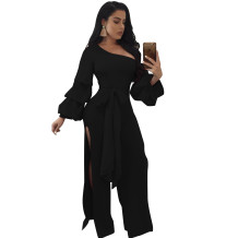 One Shoulder Split Jumpsuit with Puff Sleeves 27193-1