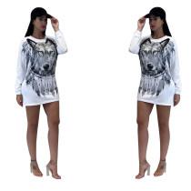 Col rond chemises blanches à imprimé animal 27572